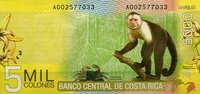 5.000 Colones  Costa-Rica Pick 276 unc/kassenfrisch  17,00 EUR  +  6,50 EUR shipping