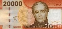 20.000 Pesos 2009 Chile Pick 165a unc/kassenfrisch  65,00 EUR  +  6,50 EUR shipping