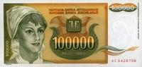 100.000 Dinara 1993 Jugoslawien Pick 118 unc/kassenfrisch  1,50 EUR  +  6,50 EUR shipping