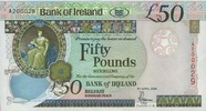 50 Pounds 05.4.2004 BANK OF IRELAND P.81/2004 unc/kassenfrisch  190,00 EUR  +  6,50 EUR shipping