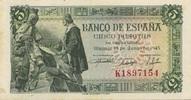 5 Pesetas 15.6.1945 Spanien P.129a/1- 1-  50,00 EUR  +  6,50 EUR shipping