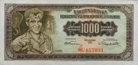 1.000 Dinara 01.5.1955 Jugoslawien P.71b unc/kassenfrisch  13,00 EUR  +  6,50 EUR shipping