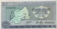 50 Francs 01.1.1976 Rwanda P.7c unc/kassenfrisch  10,50 EUR  +  6,50 EUR shipping