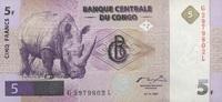 5 Francs 01.11.1997 Congo-Dem.Republik P.86A unc/kassenfrisch  20,00 EUR  +  6,50 EUR shipping