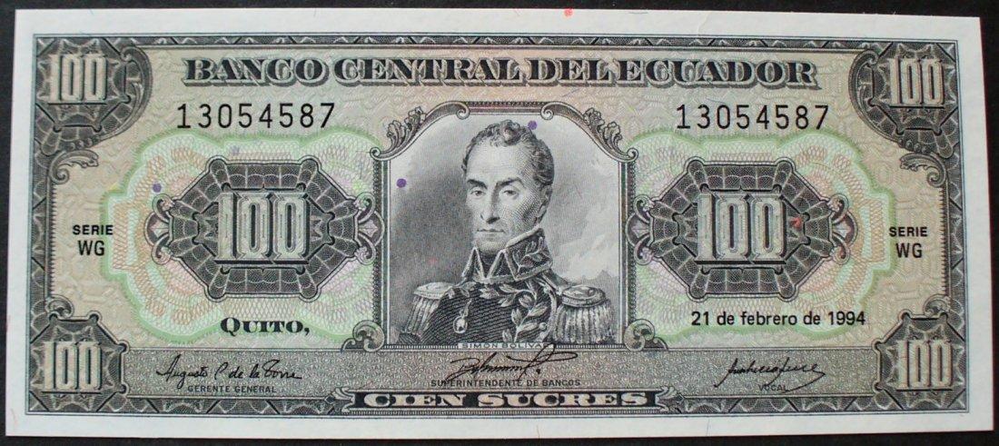 100 sucres 21 2 1994 ecuador p 123a c unc coin coins and Ecuador Animals Ecuador Animals