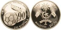 250 Rufiyaa 1990 Malediven Fußball mit Schriftband, Fußball-WM 1990 in ... 38,00 EUR  +  8,90 EUR shipping