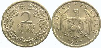 2 Mark 1927  J Weimarer Republik  Fast Ste...