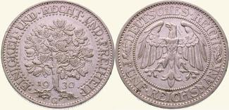 5 Mark 1930 G Weimarer Republik  Winz. Kra...