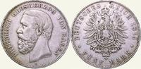5 Mark 1875  G Baden Friedrich I. 1856-1907. Fast sehr schön  55,00 EUR