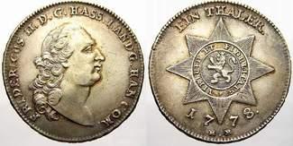 Taler Landmünze 1 1778  BR Hessen-Kassel F...