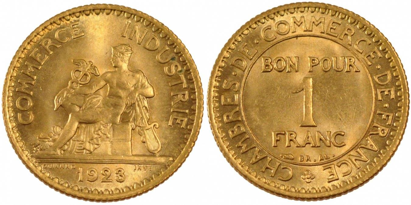 Franc 1923 paris france chambre de commerce ms 65 70 coin for Chambre commerce france