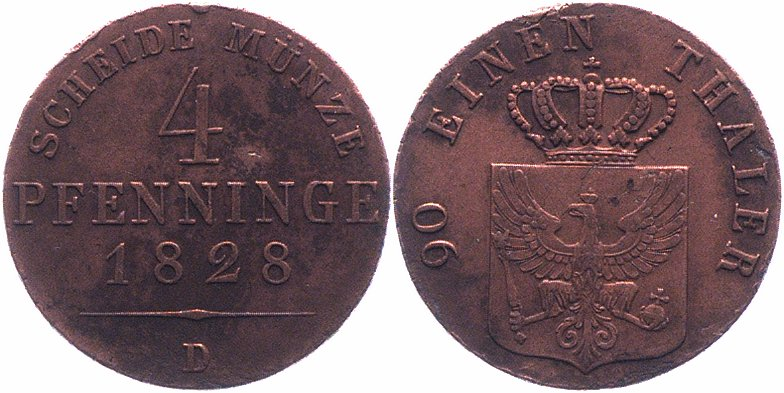 Brandenburg-Preuen <i>Friedrich Wilhelm III. 1797-1840</i> 4 Pfennig 1828 D ss-vz 