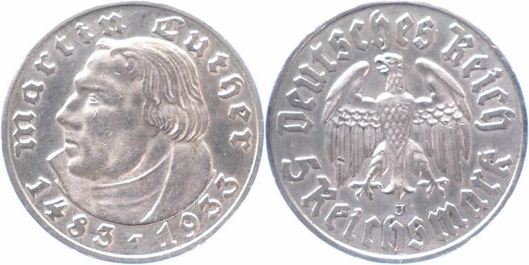 5 Reichsmark 1933 J , Drittes Reich Martin Luther gutes vorzüglich