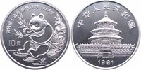 10 Yuan Silberunze 1991 China Pandabär Stempelglanz in Kapsel  85,00 EUR