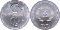 DDR 10 Mark Silber 1968 Stempelglanz Johann Gutenberg 33,00 EUR 