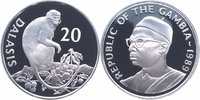 20 Dalasis Silber 1987 Gambia 25 Jahre WWF, Affe PP - Proof in Kapsel  22,00 EUR  +  6,00 EUR shipping