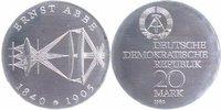 20 Mark Silber 1980 DDR Ernst Abbe Stempelglanz-  40,00 EUR  +  10,00 EUR shipping
