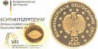 Deutschland 20 Euro GOLD 2011 D ST, OVP + Zetifikat Deutscher Wald, Buche 239,00 EUR 