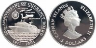 Cayman Islands 5 Dollars Silber 1991 PP Proof in Kapsel, selten! Geschic... 59,00 EUR