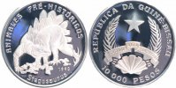 Guinea-Bissau 10000 Pesos Silber 1993 PP Proof  Dinosaurier, Stegosaurus 20,00 EUR 