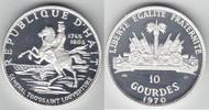 10 Gourdes Silber 1970 Haiti Jahrestag der Revolution PP-, Proof-  59,00 EUR