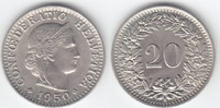 20 Rappen 1950 Schweiz  stempelglanz  10,00 EUR  +  6,00 EUR shipping
