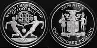 100 Dollars Silber 1986 Jamaika Fußball-WM 1986 PP Proof in Kapsel  114,00 EUR