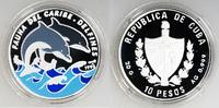 10 Pesos Silber-Farbmünze 1994 Kuba Tierwelt der Karibik, Delphine PP i... 19,00 EUR  +  6,00 EUR shipping