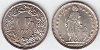 1 Franken Silber 1964 Schweiz  Stempelglanz fein  10,00 EUR