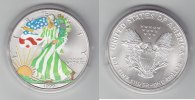 USA 1 Dollar Silver Eagle mit Farbaplikationen