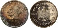 1931  3 Mark Freiherr von Stein PP prachtvolle Patina min Kratzer  285,00 EUR  Excl. 7,00 EUR Verzending