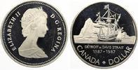 pp feine Kratzer Kanada 1 Dollar 1987 Silber PP John Davis Expedition pp 10,00 EUR  +  4,00 EUR shipping