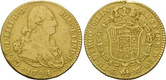 2 Escudos 1794 Spanien, Karl IV., 1788-180...