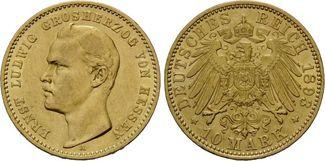 10 Mark 1893, Hessen, Ernst Ludwig, 1892-1...