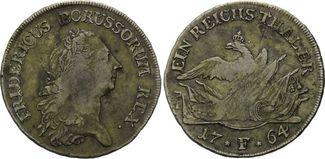 Reichstaler 1764 F, Brandenburg-Preussen, Friedrich II. der Große, 1740-1786, ss