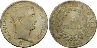 5 Francs 1810 A, Frankreich,  l.prägeschw....
