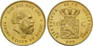 10 Gulden 1875, Niederlande, William III., 1849-1890, kl.Rdf., kl.Einhiebe auf dem Avers, kl.F