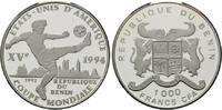 1000 Francs 1992, Benin, Fußball-WM 1994, PP  38,00 EUR  +  9,90 EUR shipping