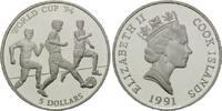 5 Dollars 1991, Cook Islands, Fußball-WM 1994, PP  13,00 EUR  +  9,90 EUR shipping