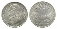 Vatikan, Kirchenstaat, 10 Soldi Jahr XXII =1867 R, Rom, Pius IX., 1846-1878,