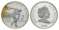 Cook-Islands, 2 Dollars 2002, PP Olympische Spiele in Athen 2004 - Disku... 7,90 EUR free shipping
