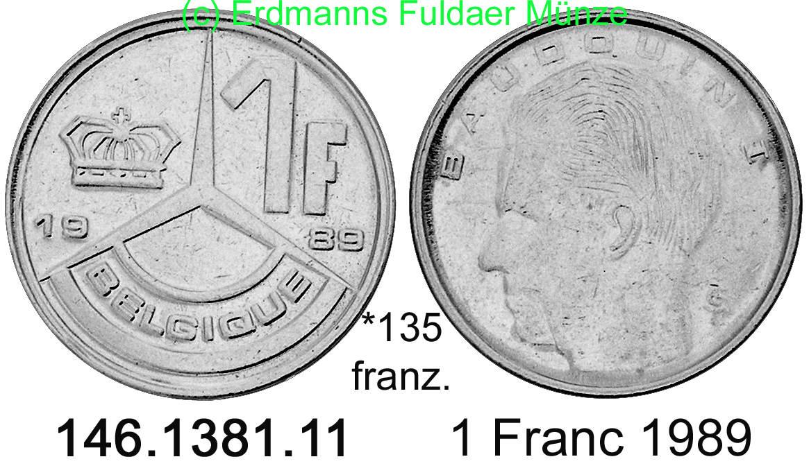 1 franc 1989 belgium belgien 135 km170 franz. Black Bedroom Furniture Sets. Home Design Ideas