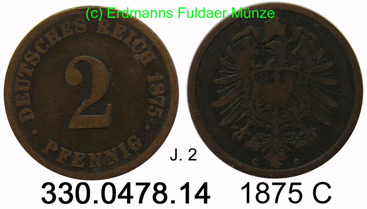 2 pfennig 1875 c germany deutschland j 2 kleiner adler 2. Black Bedroom Furniture Sets. Home Design Ideas