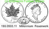 5 Dollars 2000 Canada Kanada  . . *178.7  Millennium . . unc  46,75 EUR