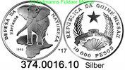 10.000 Pesos 1993 Guinea Bissau *17 KM31 Fauna Elefant . 374.0016.10  PP  24,00 EUR