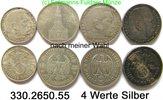 4 Werte 1935 / 1939 Germany Deutschland III.Reich Silbermünzen nach Typ... 42,00 EUR