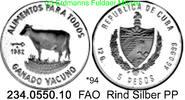 5 Pesos 1982 Cuba Kuba  . *94 FAO Rind PP  48,75 EUR  +  8,95 EUR shipping