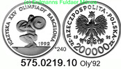 200.000 Zloty 1991 / 1992 Poland Polen *240 KM228 Oly'92 . 575.0219.10 ... 28,75 EUR