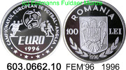 100 Lei 1996 Romania Rumänien *136 KM119 FEM´96 . 603.0662.10 PP  33,00 EUR