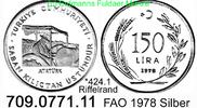 150 Lira 1978 Turkey Türkei *424.1 KM918.1 FAO Riffelrand  unc  23,25 EUR